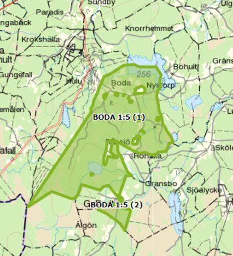 Karta över Boda 1:5